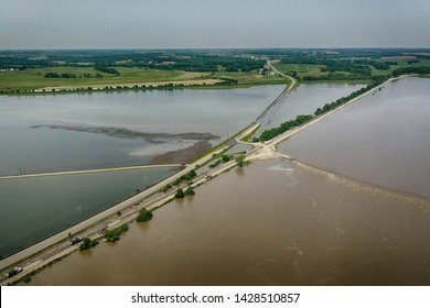 Aerial View of Midwest Flooding featuring railroad level work to prevent levee breach