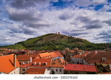 Aerial view of Mikulov in Czech Republic with old town and holy hill