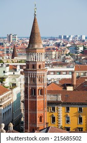 Aerial view of Milan from Duomo roof terrace, Italy