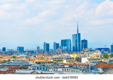 Aerial view of Milan as seen from the famous Dome of Milan in Italy