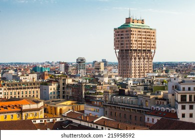 Aerial view of Milan with Torre Velasca from Duomo roof terrace, Italy