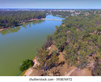 Aerial view of Mildura Weir. Location: River Murray, Mildura, Victoria. Murray River Locks.