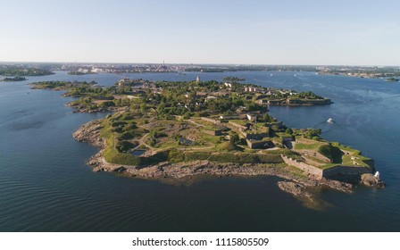 Aerial view military fortress island suomenlinna, in the city of Helsinki, on a sunny summer evening, in Helsingfors, Uusimaa, Finland