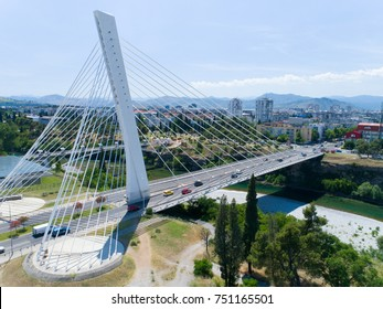 aerial view of Millennium bridge over Moraca river in Podgorica