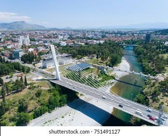 aerial view of Millennium bridge over Moraca river in Podgorica