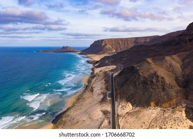 Aerial view of Mindelo coastline beach  in Sao Vicente Island in Cape Verde