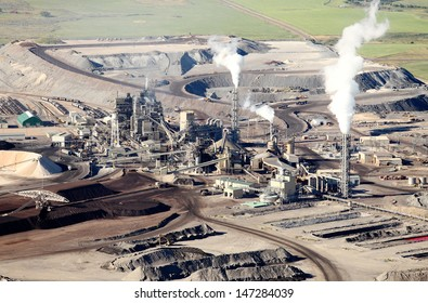 An aerial view of a mine processing facility
