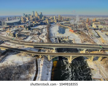 Aerial View of Minneapolis Skyline from Drone during Winter