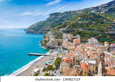 Aerial view of Minori, seaside town at centre of Amalfi Coast, province of Salerno, in Campania region of Southern Italy.