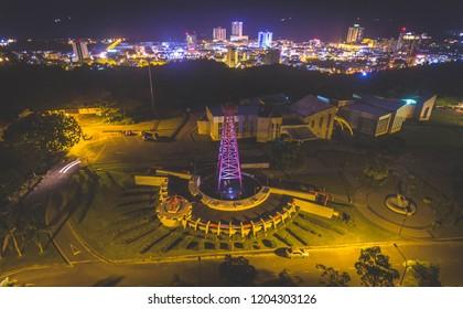 Aerial View of Miri City at Night, Sarawak.