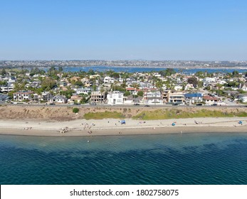 Aerial view of Mission Bay and beaches in San Diego, California. USA. Community built on a sandbar with villas and recreational Mission Bay Park. Californian beach-lifestyle.