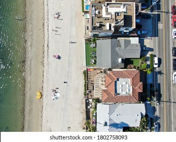Aerial view of Mission Bay and Beaches with big wealthy villa in San Diego, California. USA. Californian beach-lifestyle.