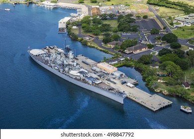 Aerial view of Missouri Battleship in Pearl Harbor, Honolulu, Hawaii, USA