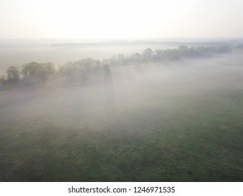 Aerial view of misty field in sunrise in Bavaria