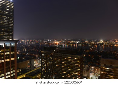 Aerial view of MIT campus on Charles River bank at night, Boston, Massachusetts, USA