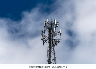 Aerial view of mobile phone cell tower to illustrate lack of broadband internet service in rural areas and need for investment