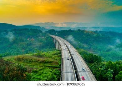 Aerial View of Modern Architectural Car Bridges, Cikubang, Cipularang Jakarta to Bandung, West Java Indonesia