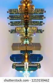 Aerial view of modern building at Bangkok business - Design Reflect Effects Photograpy