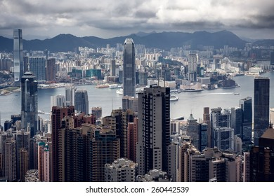 Aerial view of Modern buildings of Hong Kong town