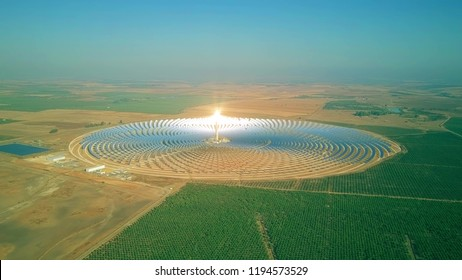 Aerial view of a modern circular solar power plant