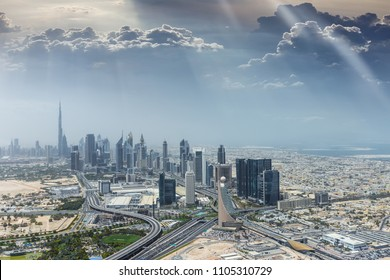 Aerial view of modern city skyscrapers in Dubai, United Arab Emirates.