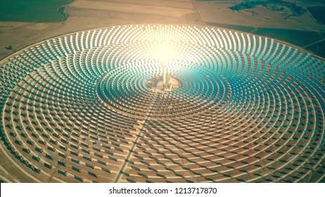 Vista aérea de uma central solar concentrada moderna