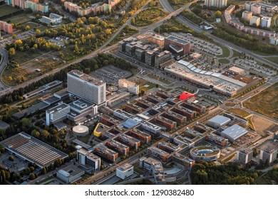 Aerial view of modern development in Brno,  Czech Republic.