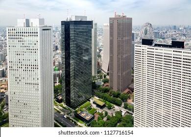 Aerial view of the modern financial district of Shinjuku, in Tokyo, Japan.