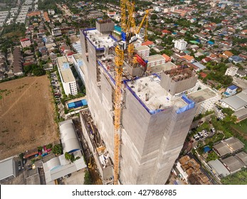 Aerial view of modern high rise building construction