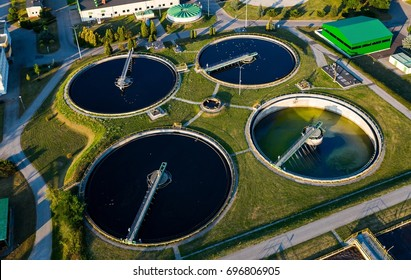 Aerial view of modern industrial sewage treatment plant