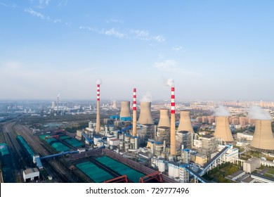 aerial view of modern large thermal power plant on dezhou city ,shandong province,China