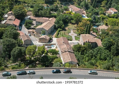 Aerial view of the modern part of the village Les Baux-de-Provence, named as one of the most beautiful villages in France.