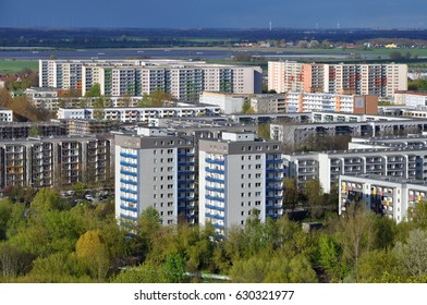 Aerial view of the modern residential district of Marzahn in Berlin. Highrise buildings in perspective.