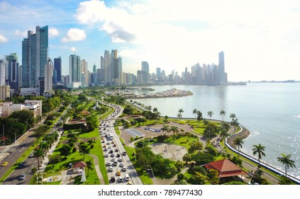 Aerial view of the modern skyline of Panama City , Panama with modern Highrise buildings.