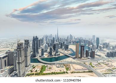Aerial view of modern skyscrapers, Dubai, United Arab Emirates.