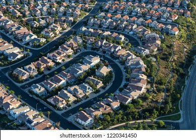 Aerial view of modern streets and homes in the San Fernando Valley area of Los Angeles, California.