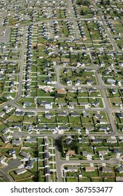 An aerial view of a modern subdivision