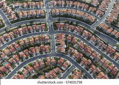 Aerial view of modern suburban neighborhood in Los Angeles California.