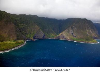 Aerial View of the Molokai Island cost, Hawaii, USA.