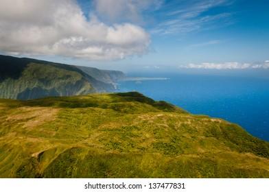 Aerial view of Molokai island mountains and coastline
