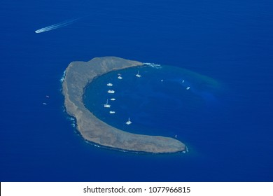 Aerial view of Molokini Crater, off Maui's southern shoreline.
