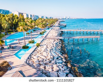 Aerial View of Molos Promenade on the Coast of Limassol City in Cyprus, Sunset Time