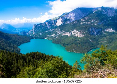 Aerial view of Molveno Lake,  an Alpine lake in Trentino, Italy