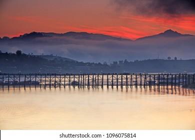 Aerial view of Mon Bridge at Sangkhlaburi. Kanchanaburi. Thailand