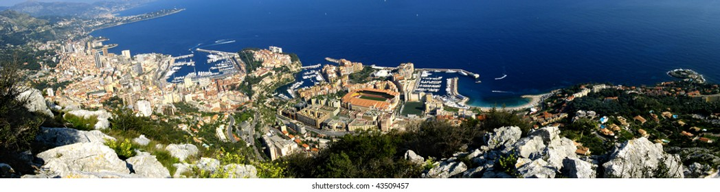 Aerial view of Monaco city in French Riviera