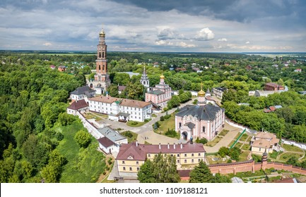 Aerial view of monastery of John the Theologian in Poshchupovo village, Ryazan oblast, Russia