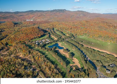 Aerial view of Mont Tremblant during foliage season, Quebec, Canada