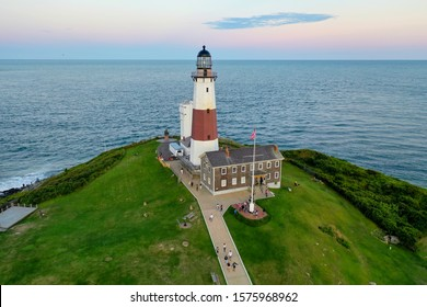 Aerial view of Montauk Lighthouse and beach in Long Island, New York, USA.