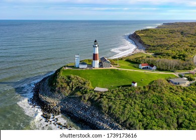 Aerial view of the Montauk Lighthouse and beach in Long Island, New York, USA.