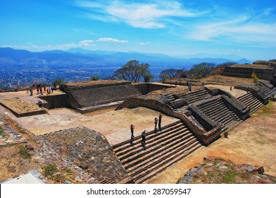Aerial view of Monte Alban Ruins, Oaxaca, Mexico with mountains at the background